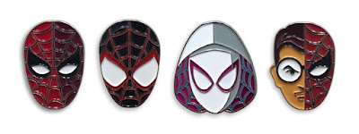 """Spider-Verse"" Marvel Spider-Man Portrait Enamel Pin Series by Tom Whalen & Mondo - 1960s Suite Spider-Man, Spider-Gwen, Ultimate Spider-Man (Miles Morales) & ""Spidey Sense"" Peter Parker"
