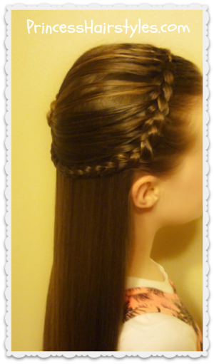 Feather braided headband and rosette hairstyle tutorial