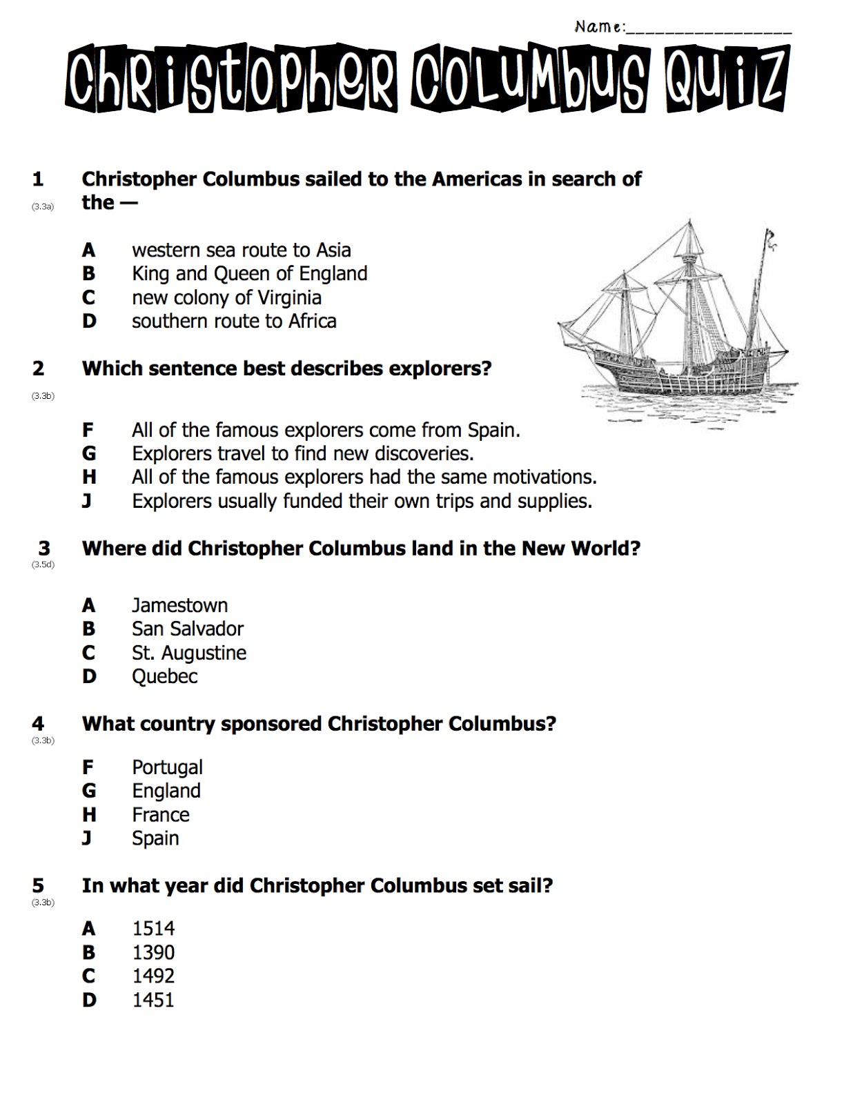 Christopher Columbus Worksheets 4th Grade   Printable Worksheets and  Activities for Teachers [ 1600 x 1236 Pixel ]