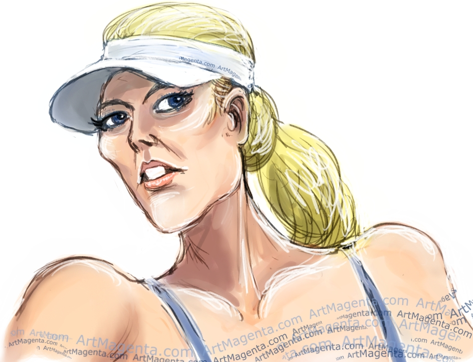 Maria Sharapova caricature cartoon. Portrait drawing by caricaturist Artmagenta