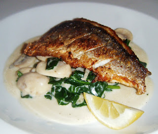 Sea Bass with Wilted Spinach and Mushrooms