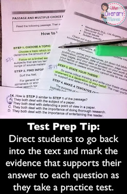 Test Prep Tip:  Direct students to go back into the text and mark the evidence that supports their answer to each question as they take a practice test. Read on for more effective ways to prepare students for standardized testing.