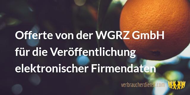 Titel: Offerte von der WGRZ GmbH für die Veröffentlichung elektronischer Firmendaten