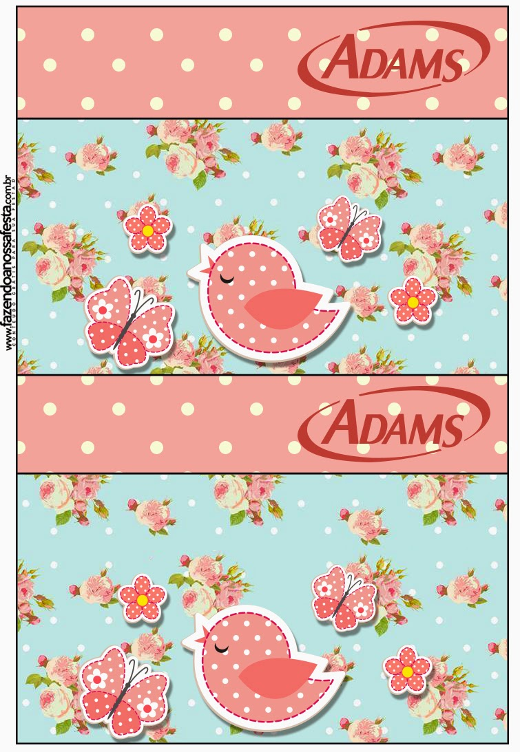 Birds and Butterflies Free Printable Gum Adams Labels.