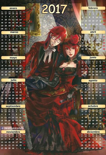 calendario 2017 kuroshitsuji