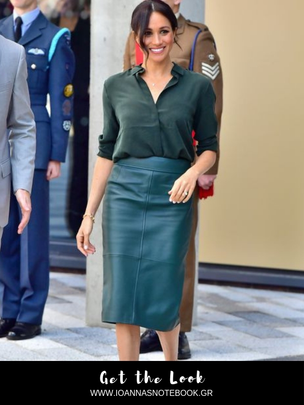 Get the Look: Meghan Markle wear an affordable shirt and scores high with her total green outfit - Read the post and get the look for less | Ioanna's Notebook