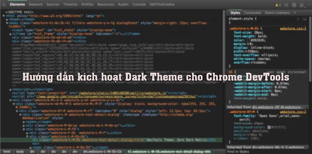 Hướng dẫn kích hoạt Dark Theme cho Chrome DevTools