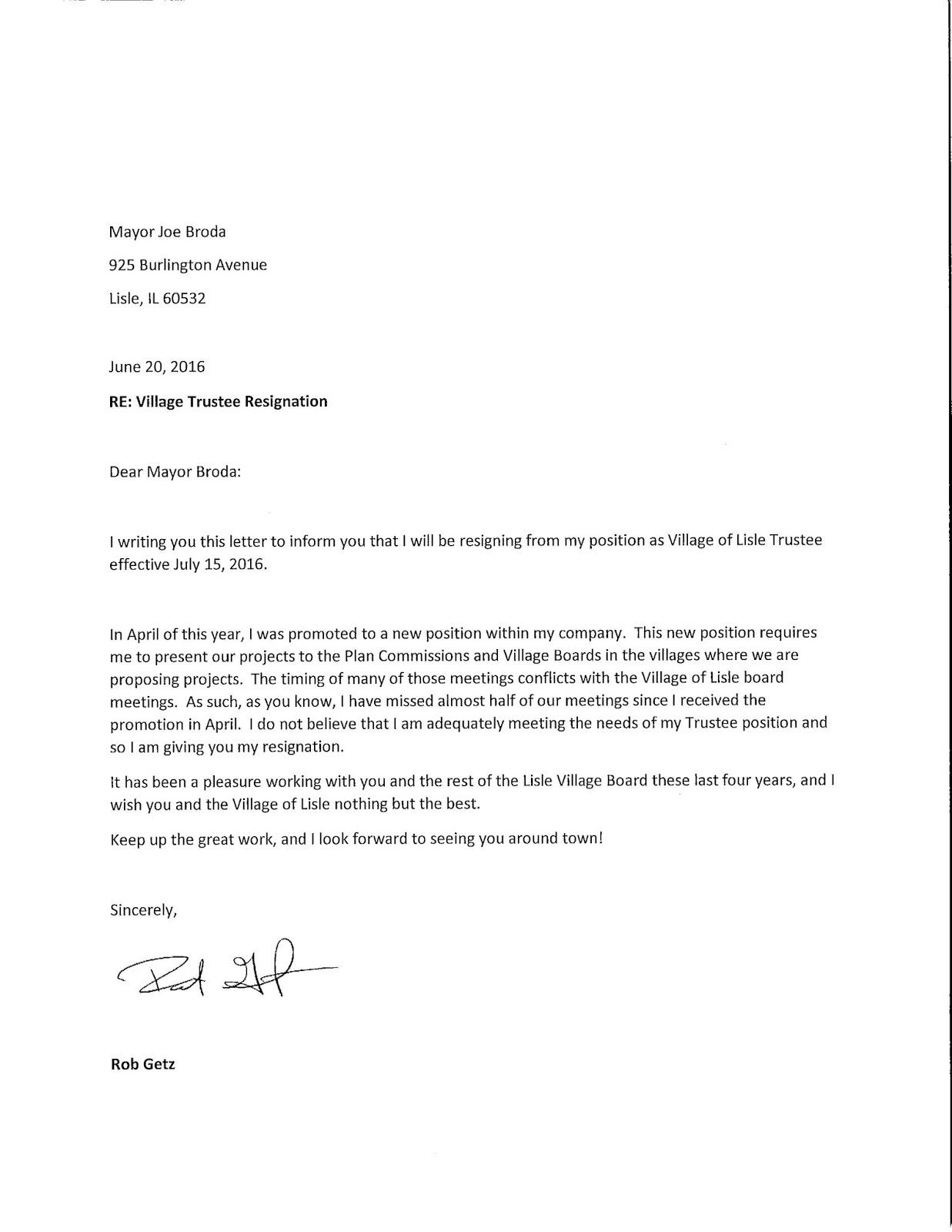 Trustee Resignation Letter Created Sample Trustee Form