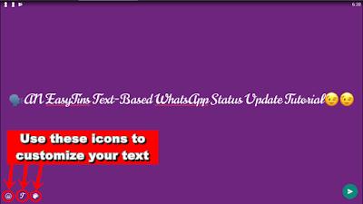 WhatsApp Text Status Update - customize