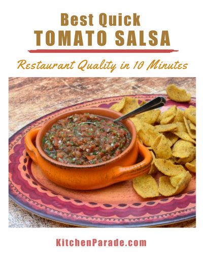 Best Quick Tomato Salsa ♥ KitchenParade.com, 10 minutes start to chip. Budget Friendly. Low Carb. Vegan. Great for Meal Prep.