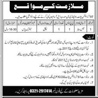 97 Ordnance Unit Rawalpindi Waiter Jobs