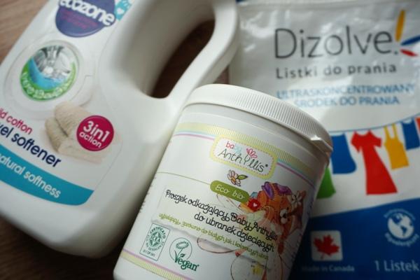 listki, odkarzać i zmiękczacz do prania pieluszek wielorazowych