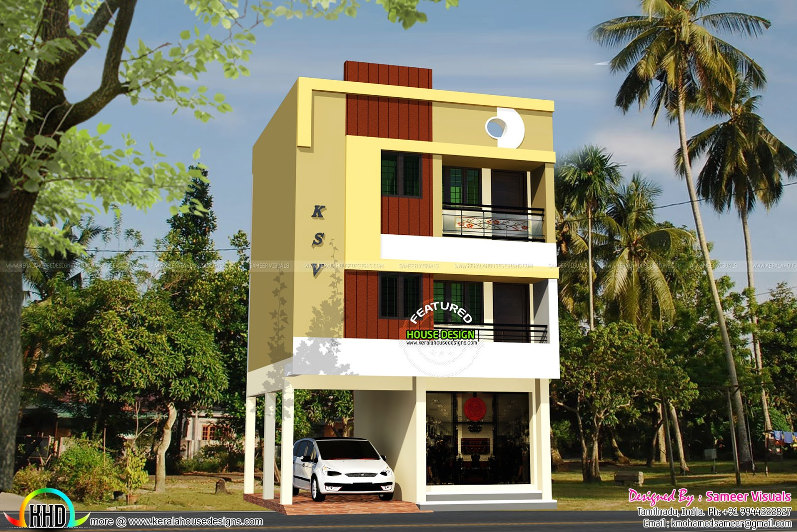 Three Floor House April 2016 Kerala Home Design And Floor Plans