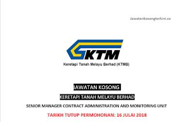 Jawatan Kosong di Keretapi Tanah Melayu Berhad 2018