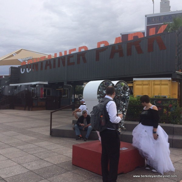 wedding couple at entrance to Downtown Container Park in Las Vegas, Nevada