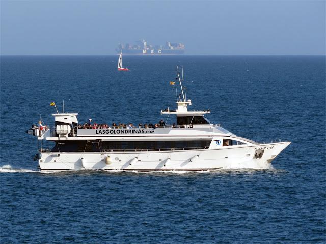 One of the Las Golondrinas tourist boat, seen from Plaça Rosa dels Vents, Barcelona