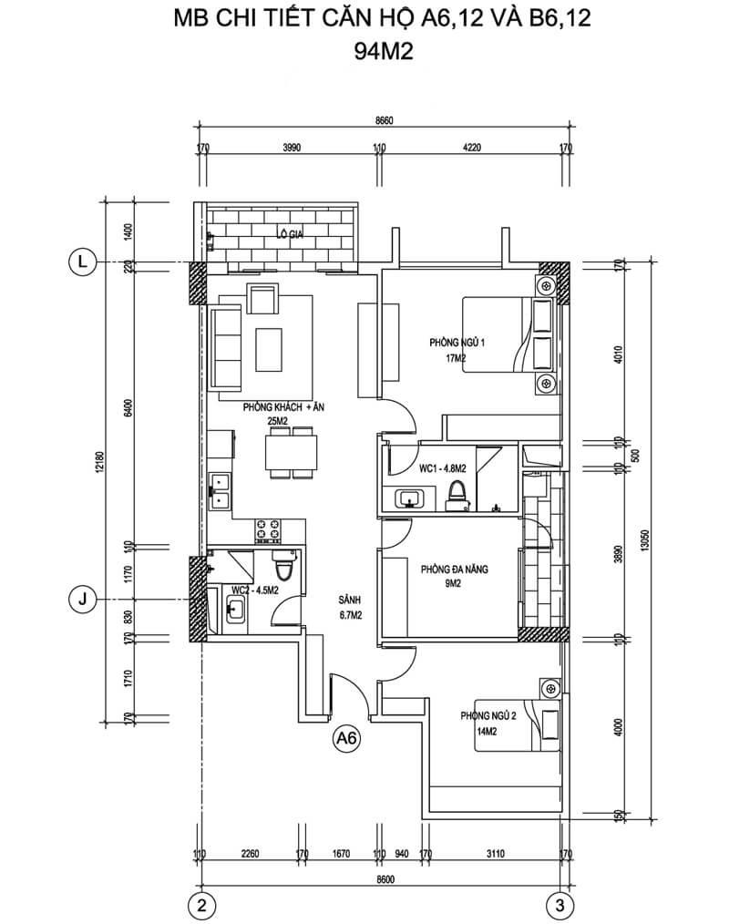 Mặt bằng căn hộ A6, 12 và B6,12 diện tích 94m2 - Thống Nhất Complex