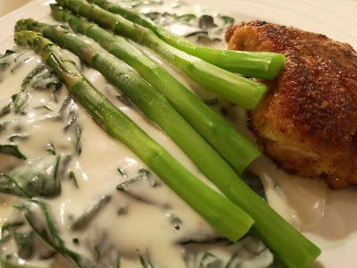The asparagus goes nicely on top