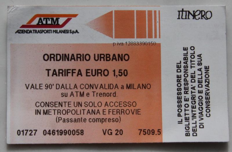 Билет на метро в Милане