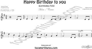 Trompa y Corno Francés Partitura de Happy birthday to you (Cumpleaños Feliz) en Mi bemol Sheet Music for French Horn Music Scores