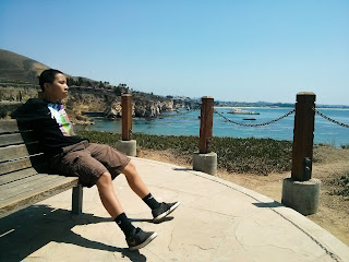 Young man sitting on a part bench that is along an ocean cliff, pondering his future