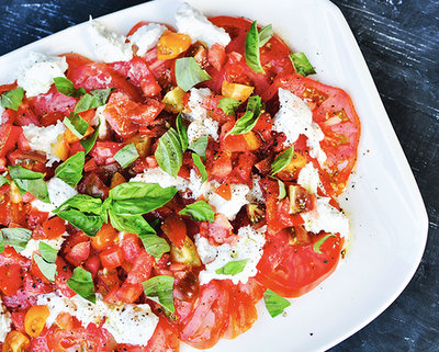 Heirloom Tomato and Burrata Caprese @ GuiltyKitchen.com, another Pretty Way to Serve Tomatoes @ AVeggieVenture.com.