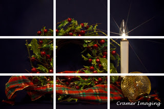 A guide image on the rule of thirds photography rule on a Christmas themed photo as done by Cramer Imaging