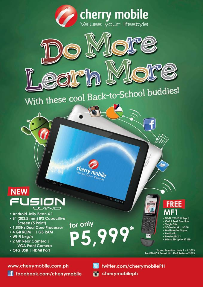 Cherry Mobile Fusion Wind tablet promo (Price and Key Features)