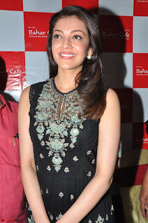 Kajal Aggarwal in lovely Black Sleeveless Anarlaki Dress in Hyderabad at Launch of Bahar Cafe at Madinaguda 021.JPG