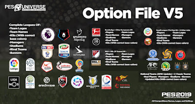 PES 2019 PC PES Universe Option File v5 Season 2018/2019
