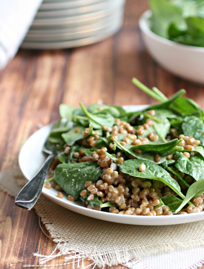 Wheat Berry and Spinach Salad with Tahini Vinaigrette