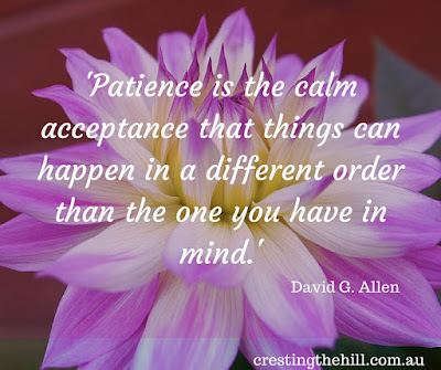 David G. Allen — 'Patience is the calm acceptance that things can happen in a different order than the one you have in mind.'