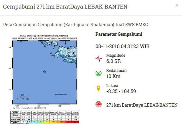 Gempa 6,0 SR guncang Lebak Banten (Istimewa/BMKG)