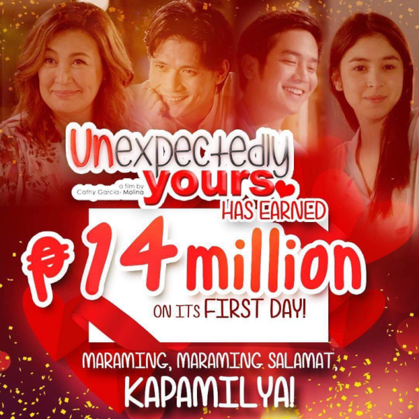 Unexpectedly Yours earns Php 14 million on its first day