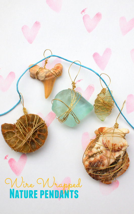 How to make easy wire wrapped nature pendants