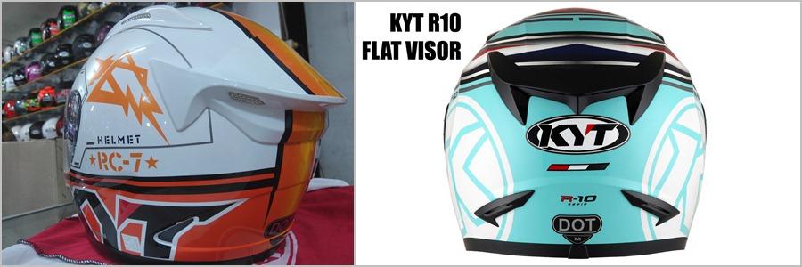 Tampak foto bagian belakang helm KYT rc7 dan KYT r10