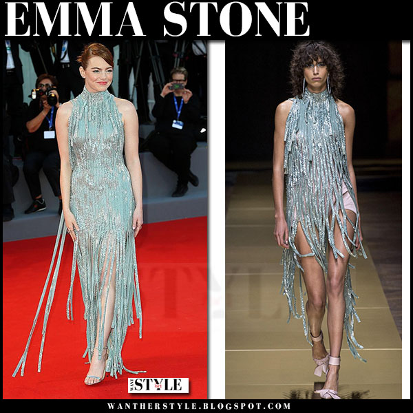Emma Stone in silver metallic fringe gown versace venice film festival 2016 what she wore
