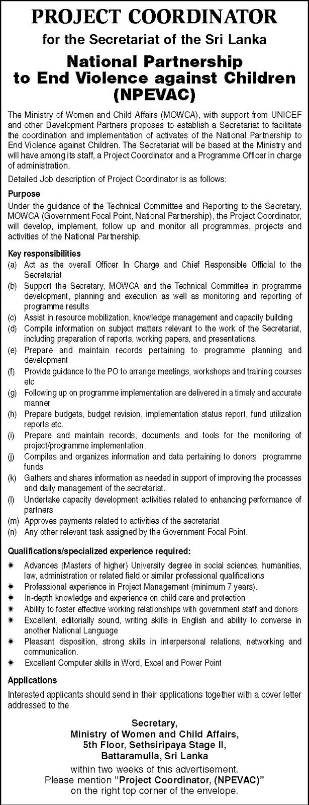 Sri Lankan Government Job Vacancies at Ministry of Women & Child Affairs for Project Coordinators