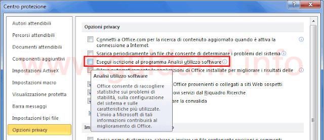 Microsoft Office disattivare programma analisi utilizzo software Windows