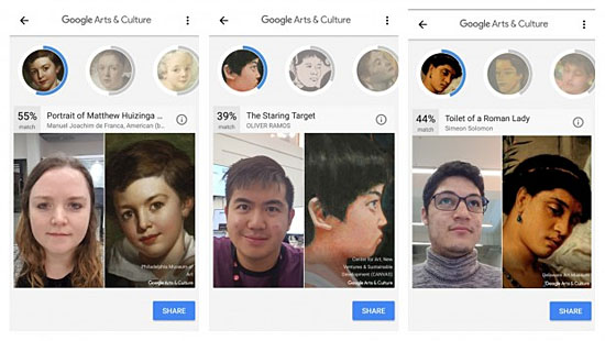 Aplicativo Art Selfie Google