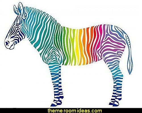 Rainbow Zebra Peel and Stick Fabric Wall Sticker rainbow bedroom wall decorations