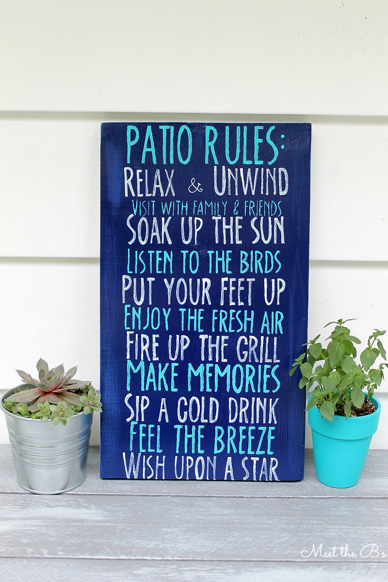 DIY Patio Rules Sign
