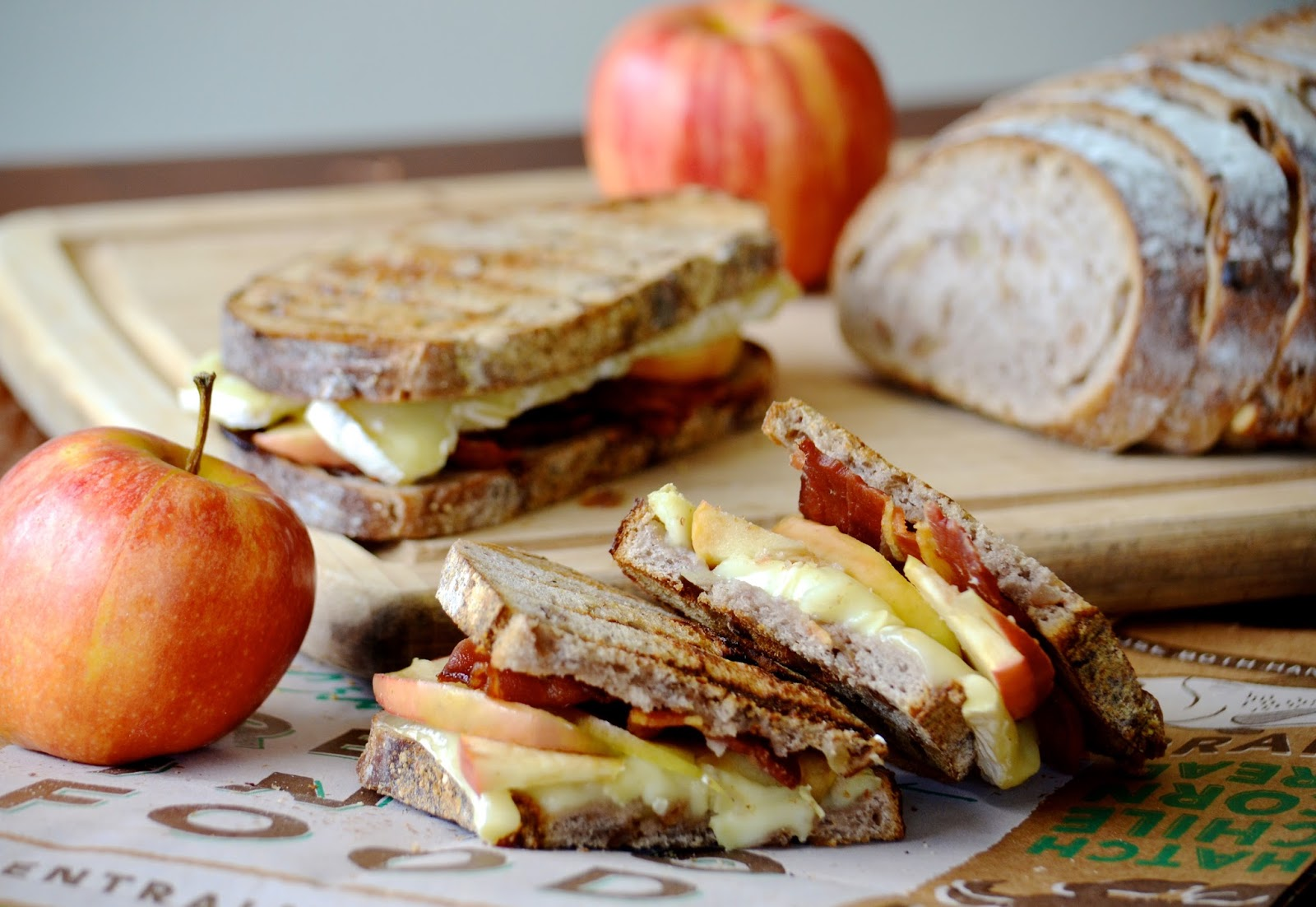 Apple, Bacon, Brie Panini, sandwich, lunch, bread, cheese, fruit