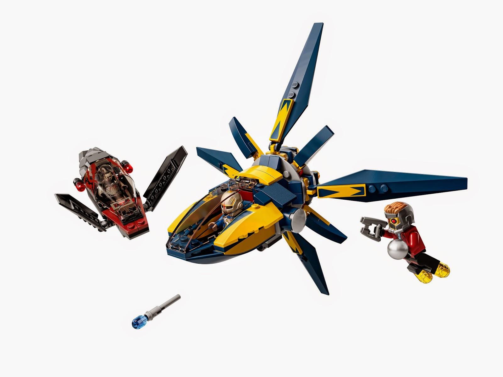 Incluye 3 minifiguras: Star-Lord, el sakaarano y un oficial de Nova