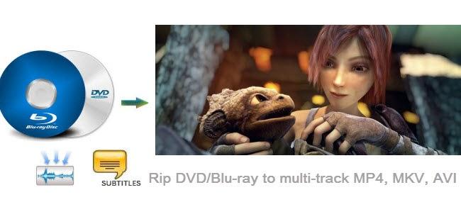 Rip DVD/Blu-ray to MP4, MKV, AVI with multi-track