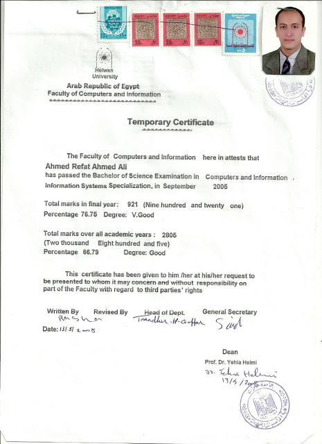 Certificate of Bachelor - Computer Science