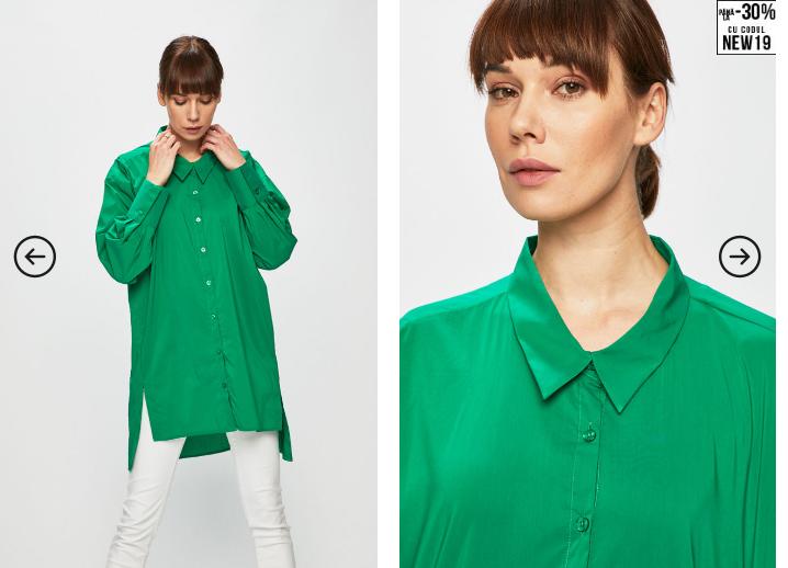 Silvian Heach - Camasa  casual verde lunga la moda