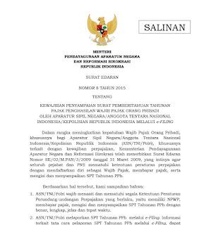 SE MENPAN Nomor 8 Tahun 2015 ASN dan Anggota TNI/Polri Wajib Menyampaikan SPT Tahunan PPh dengan E-Filing
