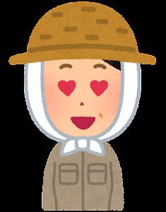 農家の女性のイラスト「目がハート」