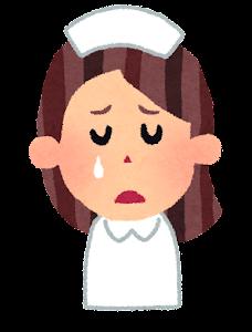女性看護師の表情のイラスト「泣いた顔」